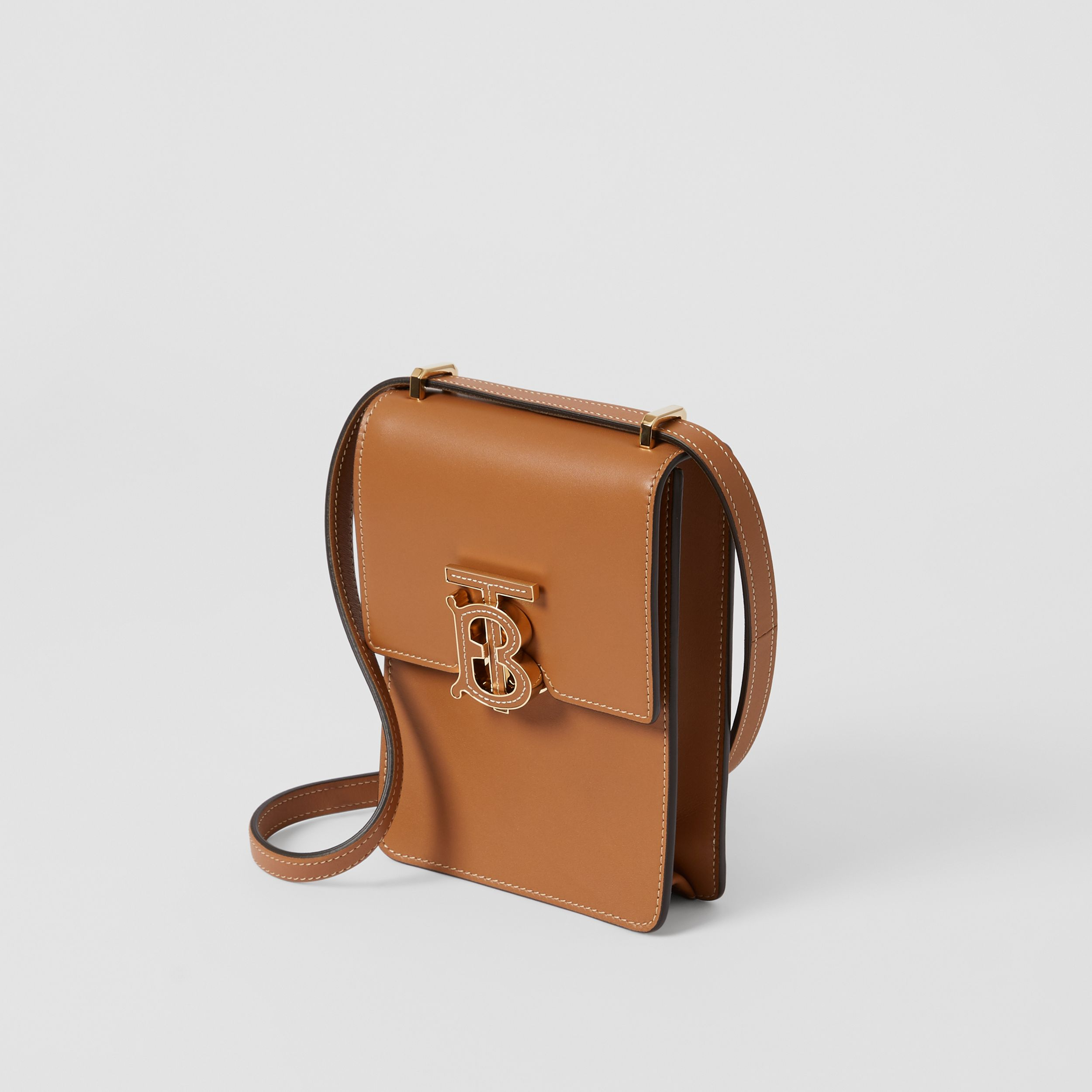 Topstitched Leather Robin Bag in Maple Brown - Women | Burberry - 4