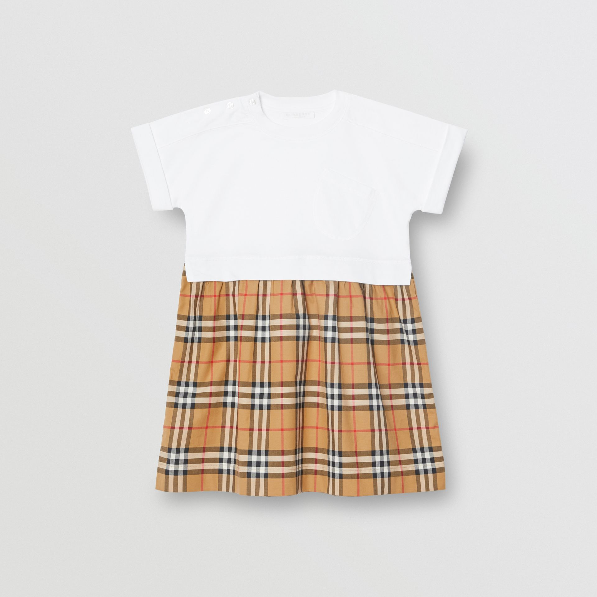 Vintage Check Cotton Dress in White | Burberry Australia - gallery image 0