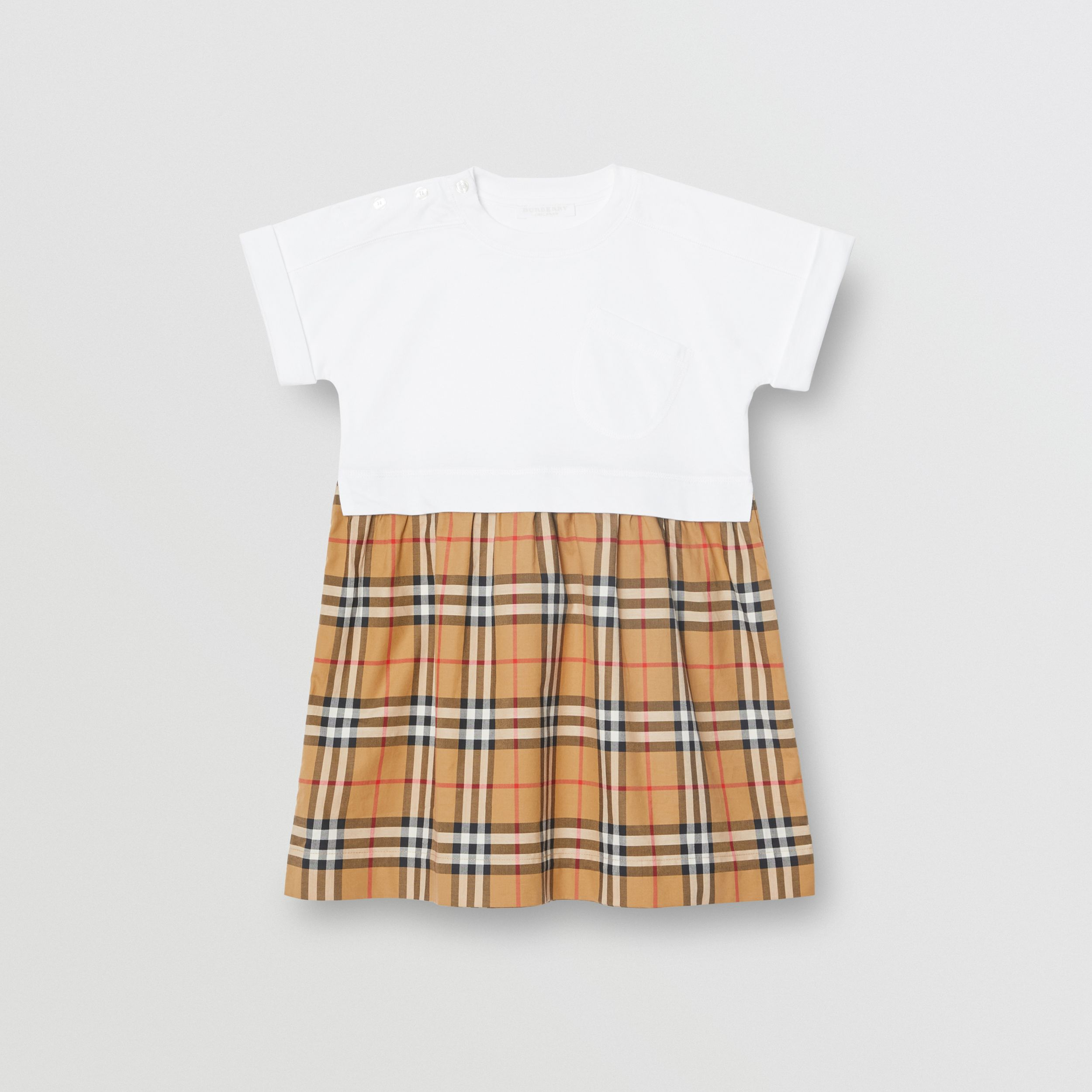 Vintage Check Cotton Dress in White | Burberry - 1