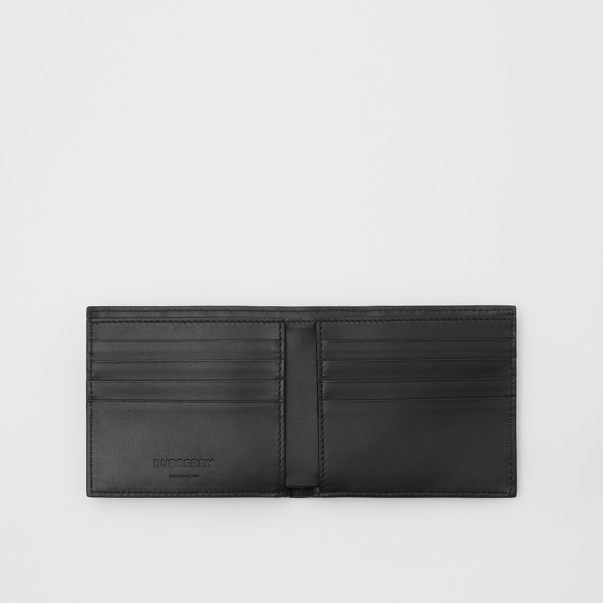 Monogram Leather International Bifold Wallet in Black - Men | Burberry United States - gallery image 2