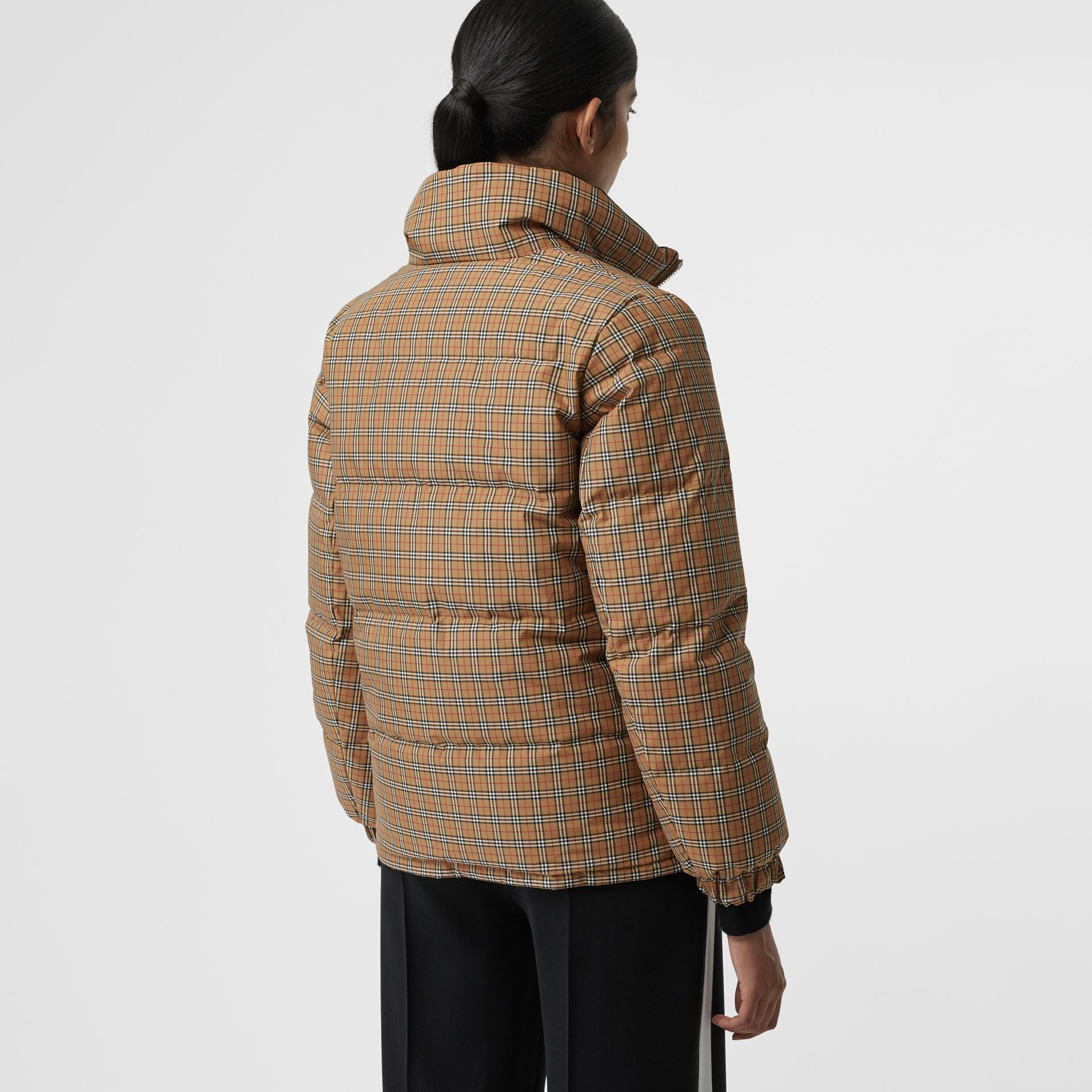 Reversible Vintage Check Puffer Jacket in Antique Yellow - Women | Burberry United Kingdom - gallery image 2