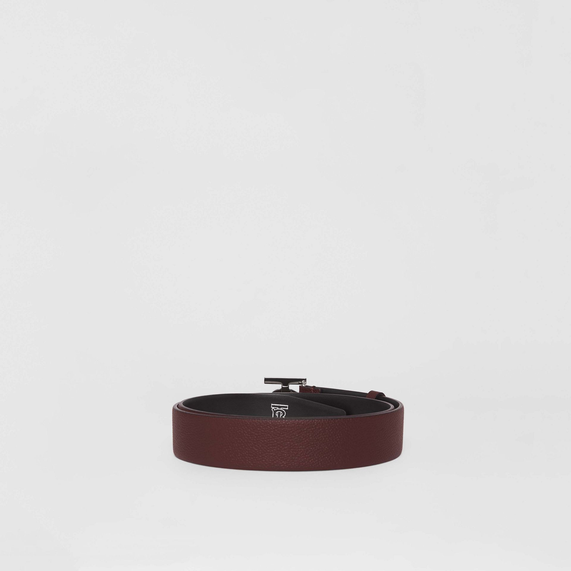 Monogram Motif Leather Belt in Oxblood - Men | Burberry - gallery image 4