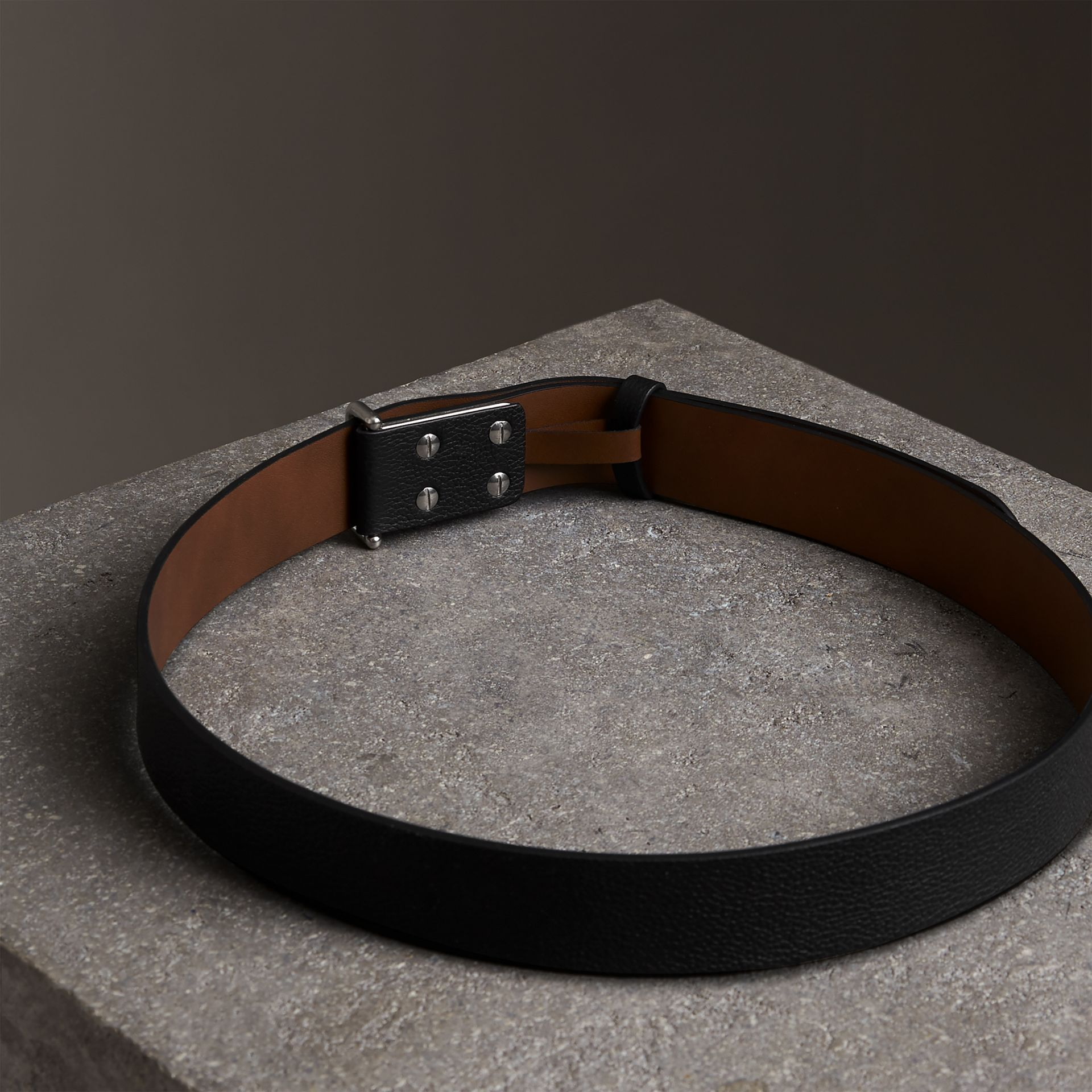 Push-Stud Grainy Leather Belt in Black - Men | Burberry - gallery image 3