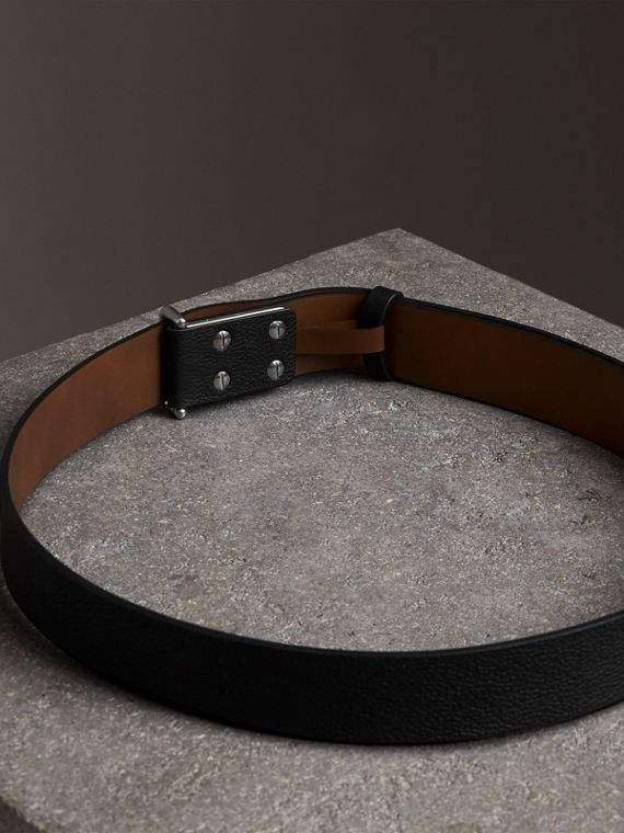 Push-Stud Grainy Leather Belt in Black - Men | Burberry United Kingdom - cell image 3