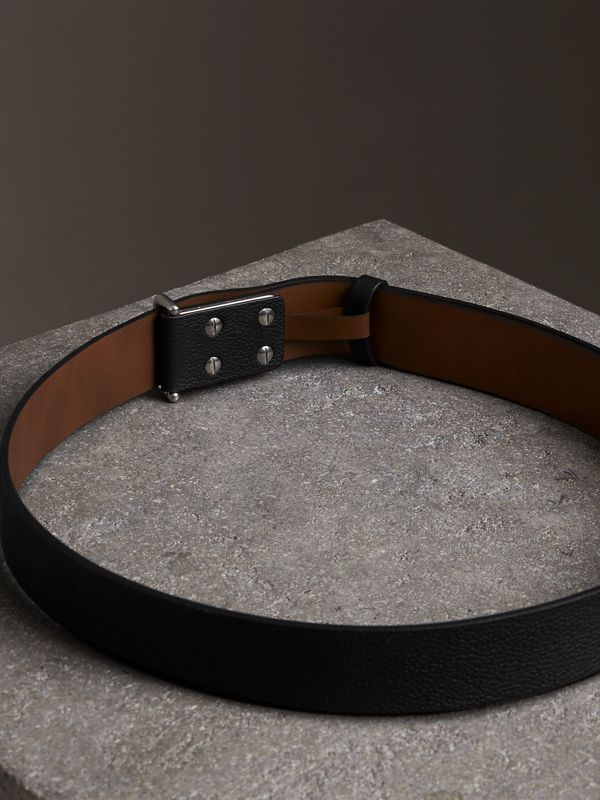 Push-Stud Grainy Leather Belt in Black - Men | Burberry Canada - cell image 3