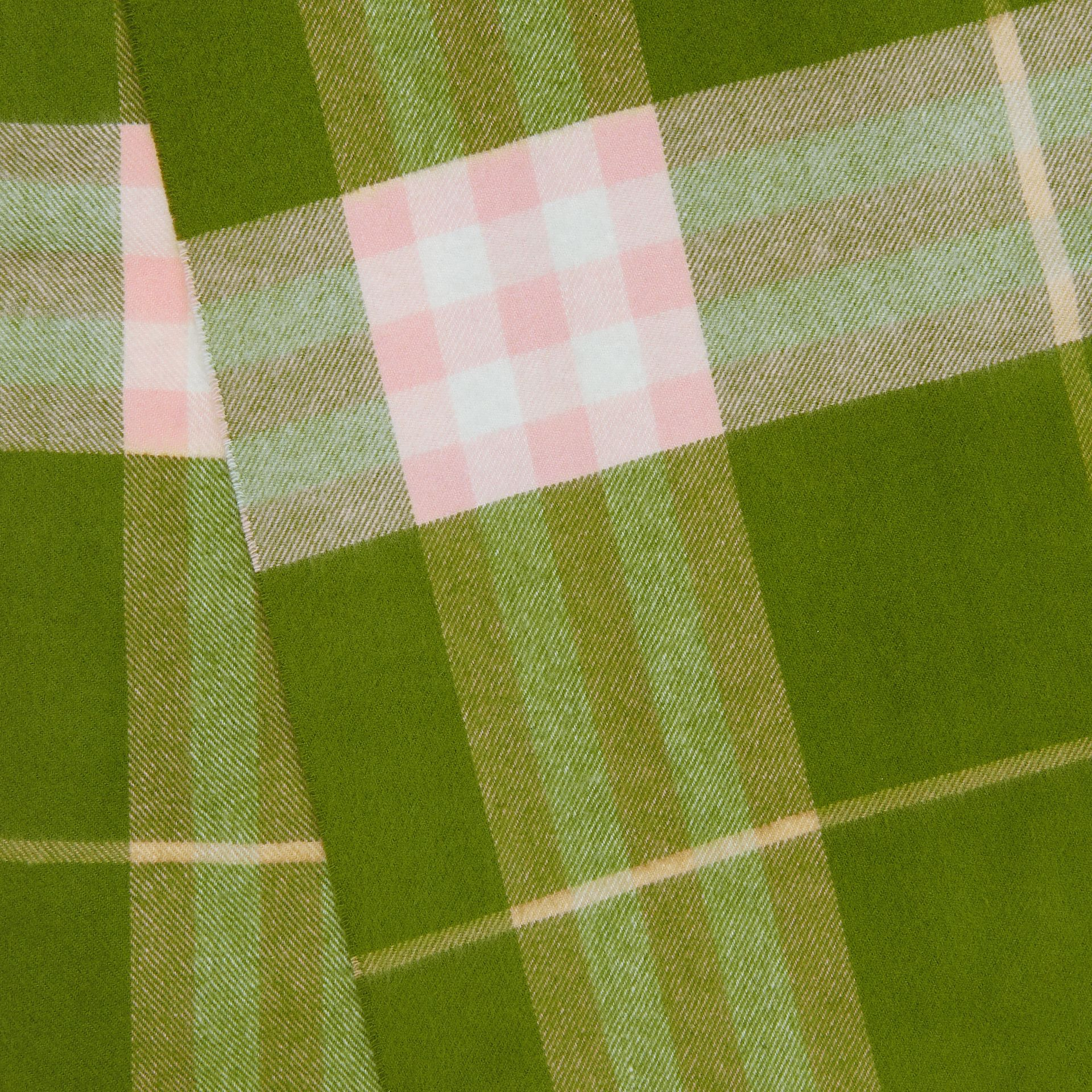 The Classic Check Cashmere Scarf in Cedar Green | Burberry United States - gallery image 8
