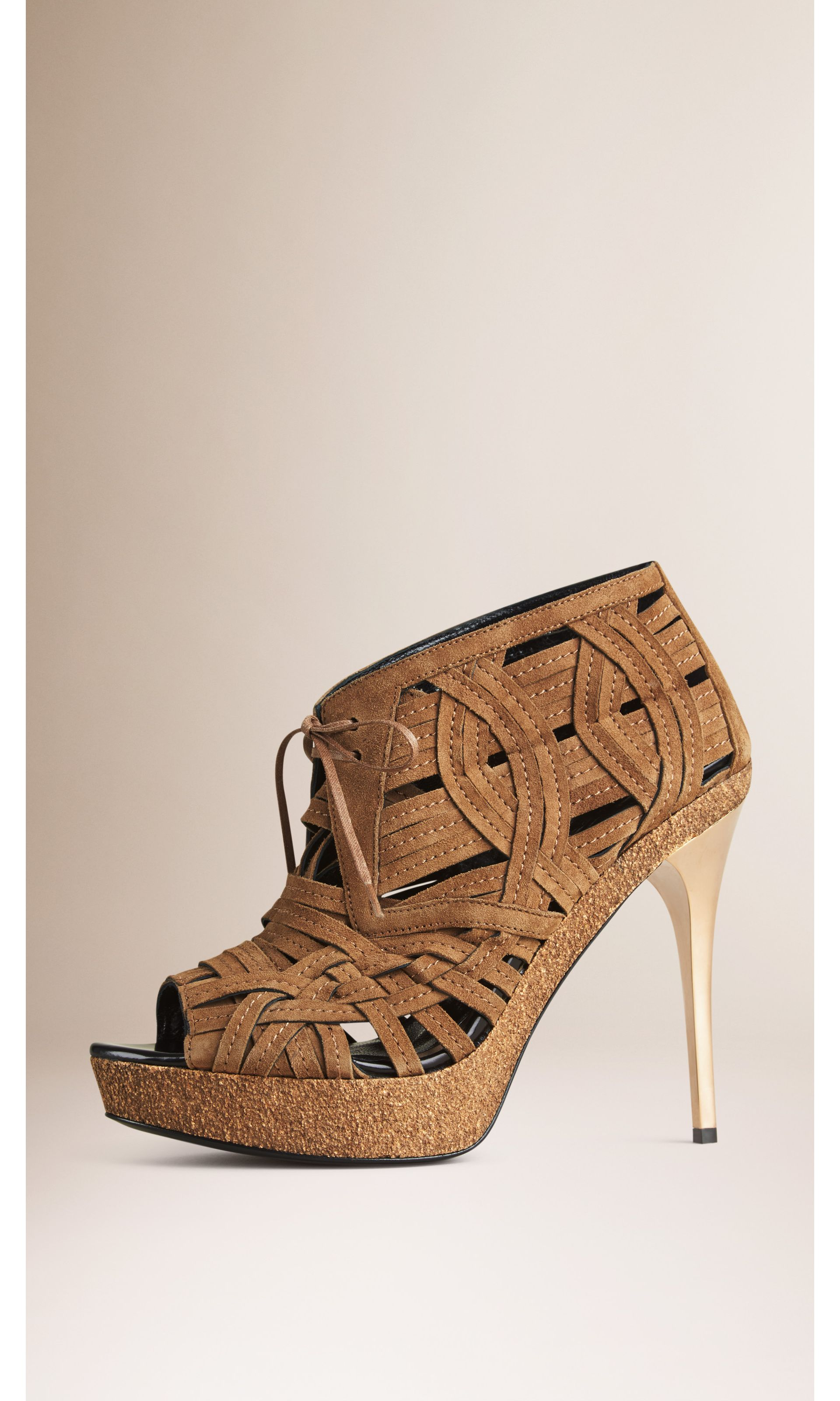 Woven Suede Ankle Boots in Walnut Brown - Women | Burberry United States - gallery image 0
