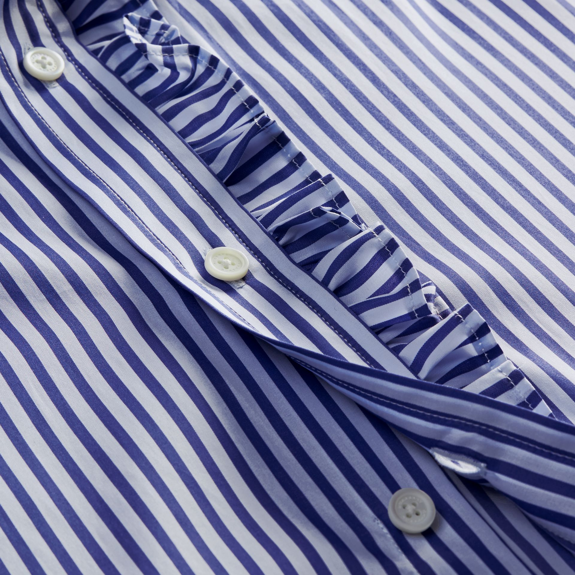 Canvas blue Ruffle Detail Striped Cotton Shirt - gallery image 2