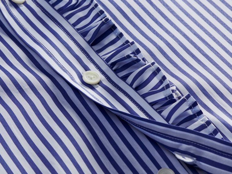 Canvas blue Ruffle Detail Striped Cotton Shirt - cell image 1