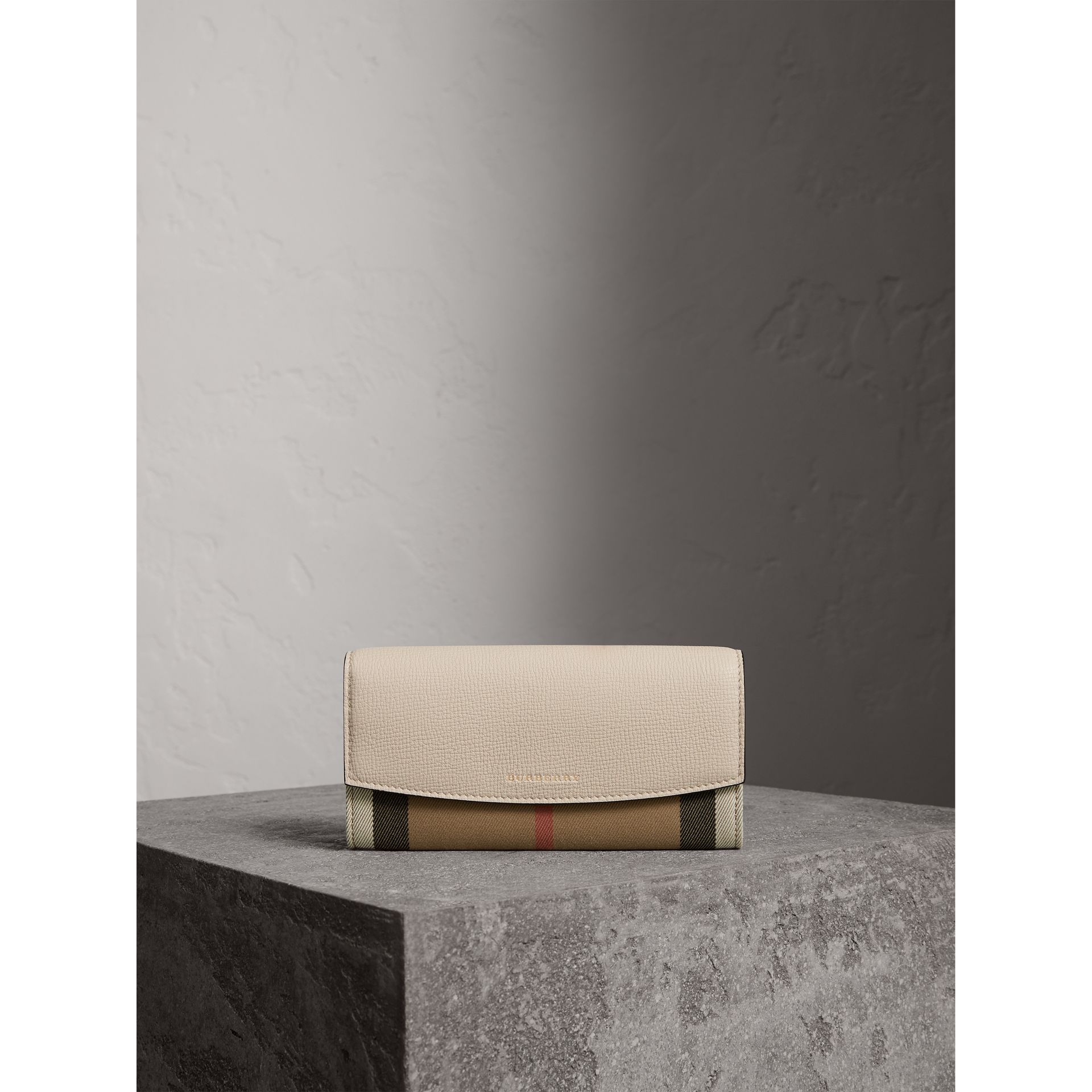 House Check And Leather Continental Wallet in Limestone - Women | Burberry - gallery image 2
