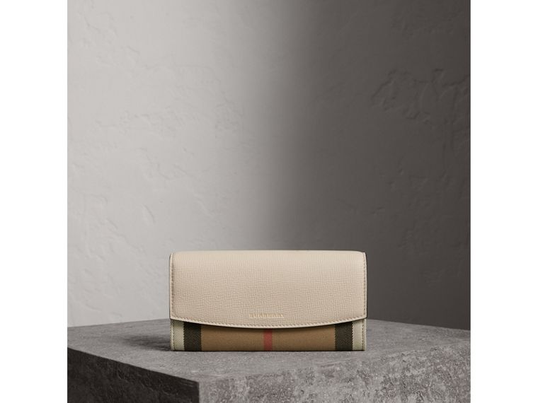 House Check And Leather Continental Wallet in Limestone - Women | Burberry - cell image 1