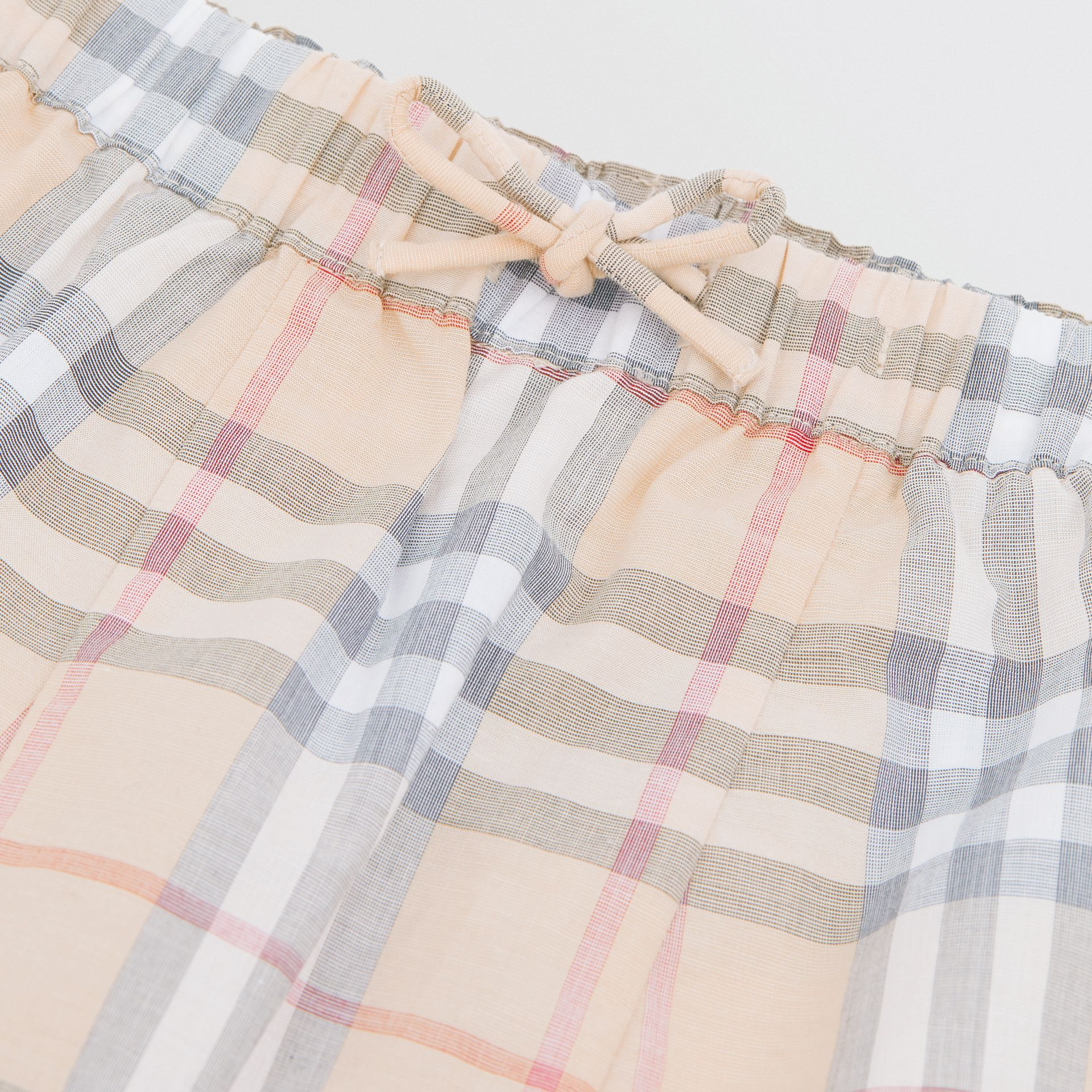 Vintage Check Cotton Drawcord Trousers in Pale Stone - Children | Burberry - gallery image 1