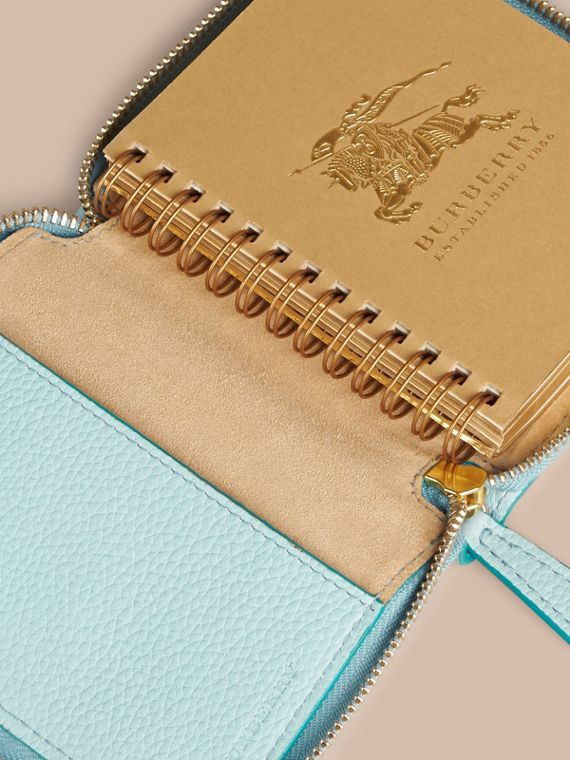 Bright mineral blue Ziparound Embossed Check Grainy Leather Mini Notebook Bright Mineral Blue - cell image 2