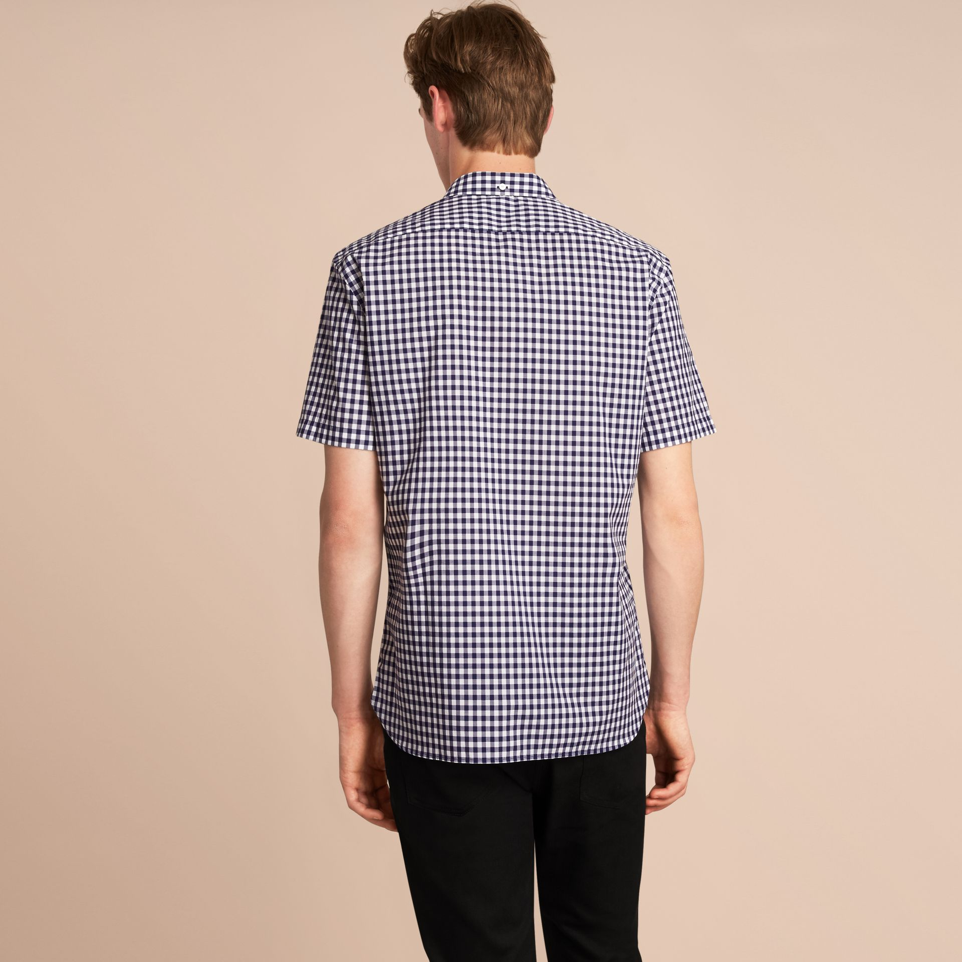Short-sleeve Button-down Collar Cotton Gingham Shirt in Navy - Men | Burberry Canada - gallery image 3