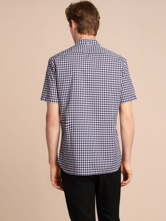 Short-sleeve Button-down Collar Cotton Gingham Shirt in Navy - Men | Burberry Canada - cell image 2