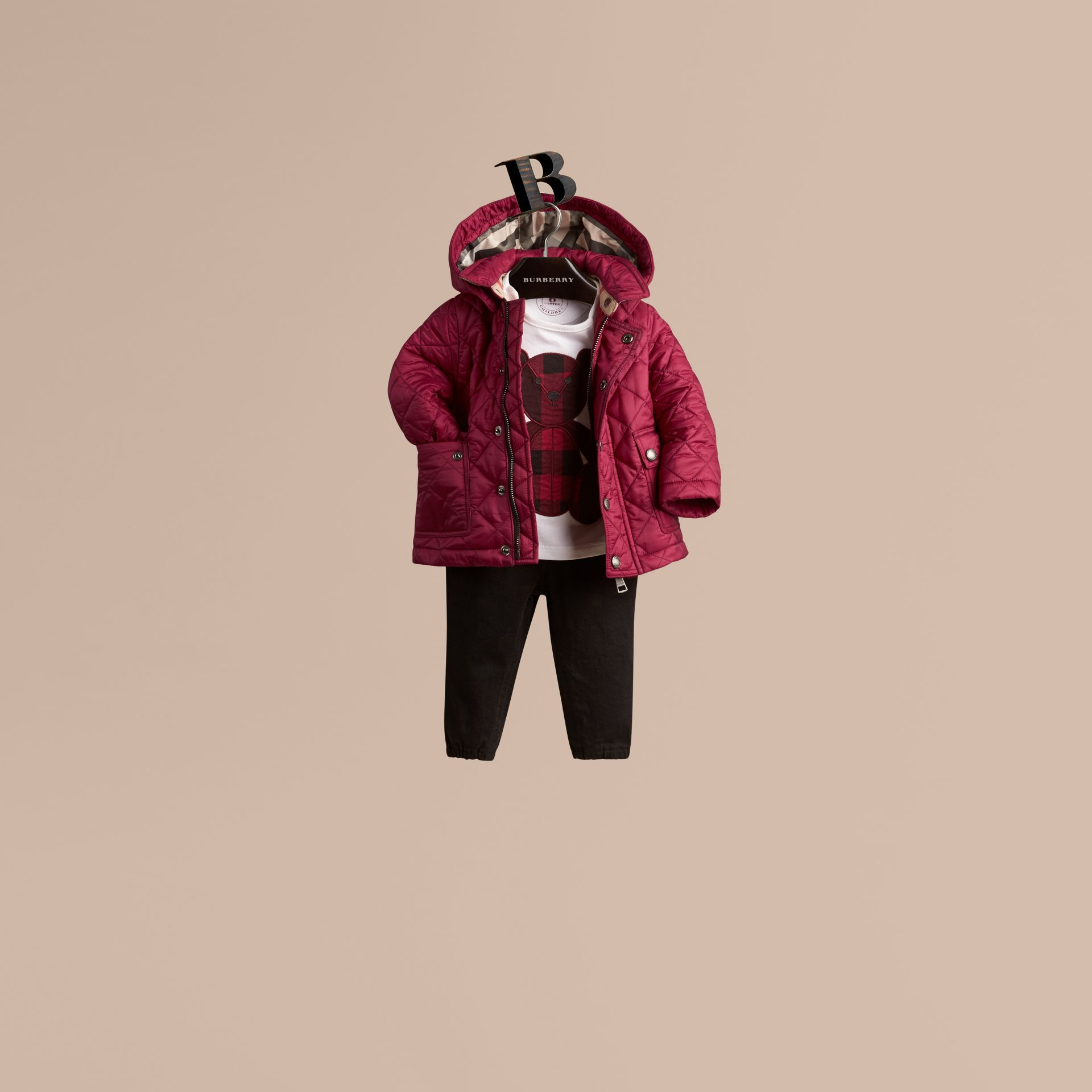 Fritillary pink Quilted Jacket with detachable hood - gallery image 1