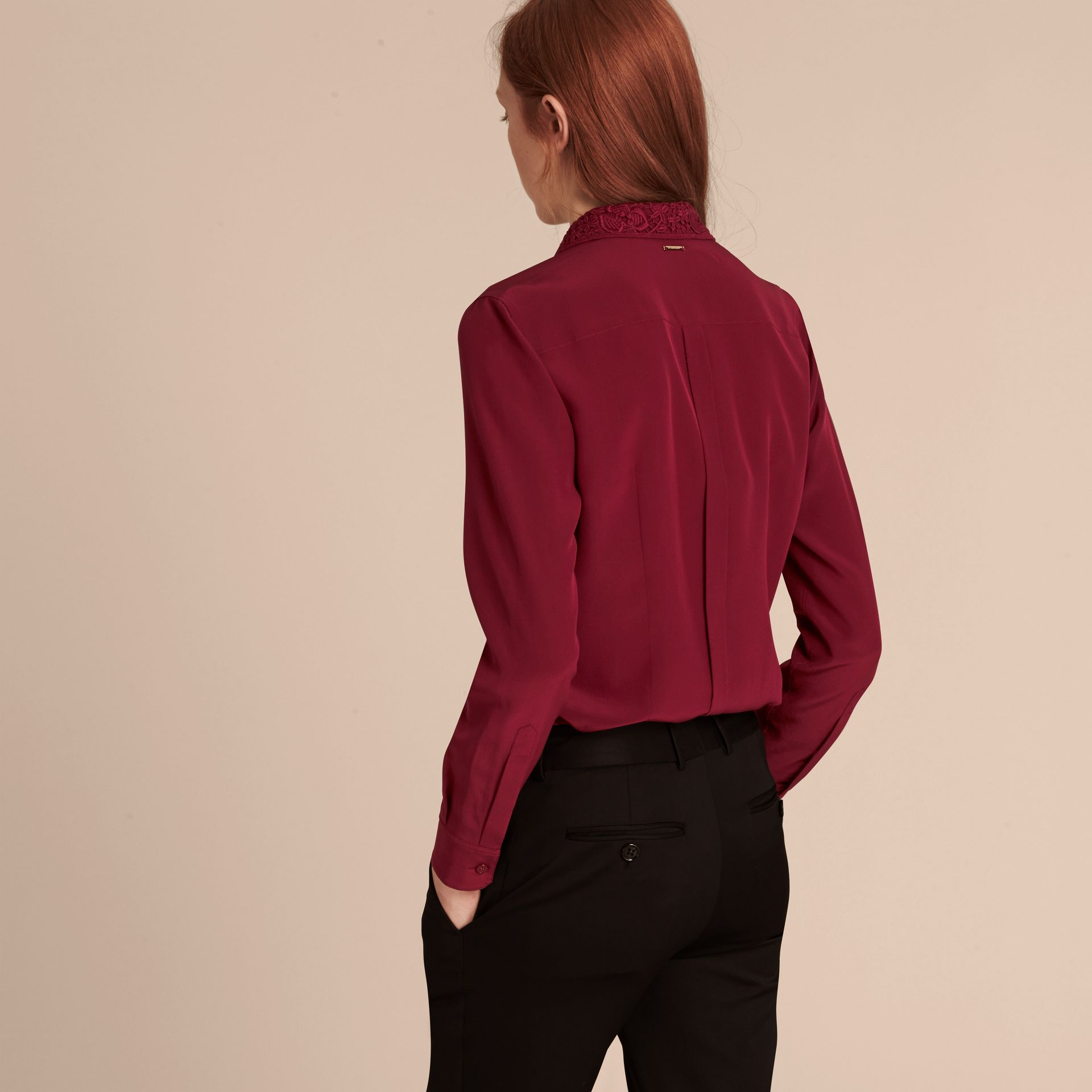 Dark crimson Lace Collar Silk Shirt Dark Crimson - gallery image 3