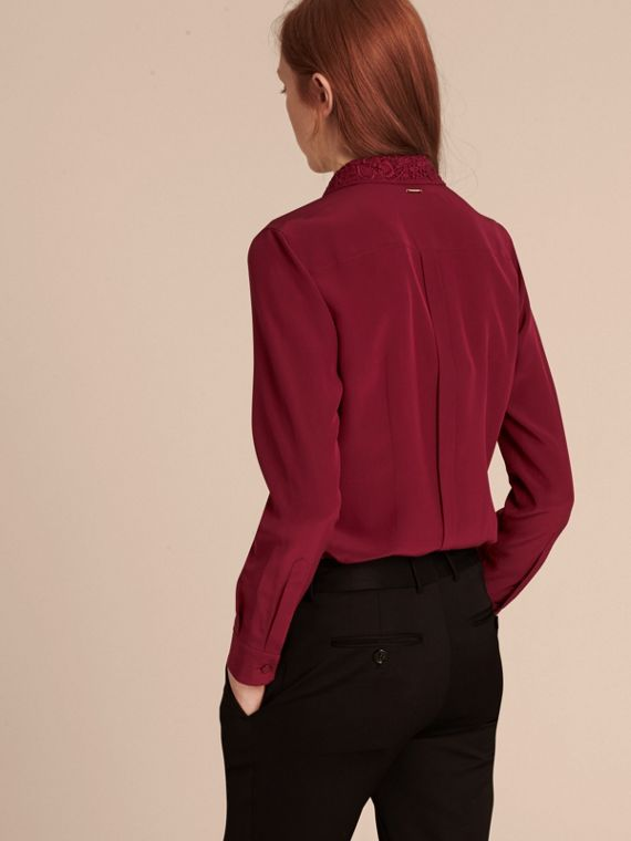 Dark crimson Lace Collar Silk Shirt Dark Crimson - cell image 2