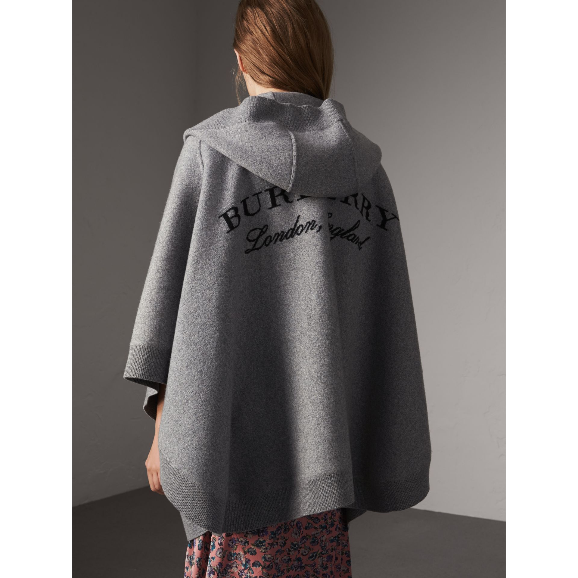 Wool Cashmere Blend Hooded Poncho in Mid Grey Melange - Women | Burberry Australia - gallery image 3