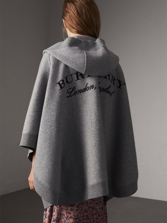 Wool Cashmere Blend Hooded Poncho in Mid Grey Melange - Women | Burberry Australia - cell image 2