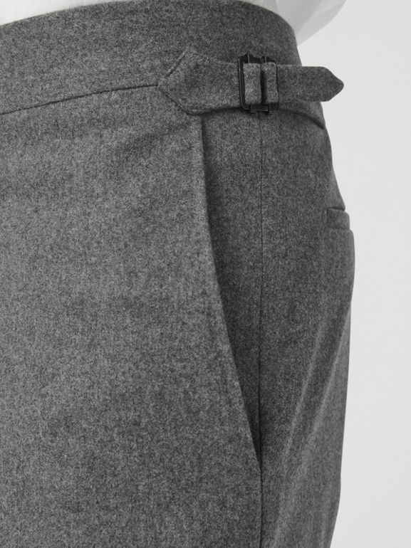 Wool Cashmere Tailored Trousers in Mid Grey Melange - Men | Burberry Singapore - cell image 1