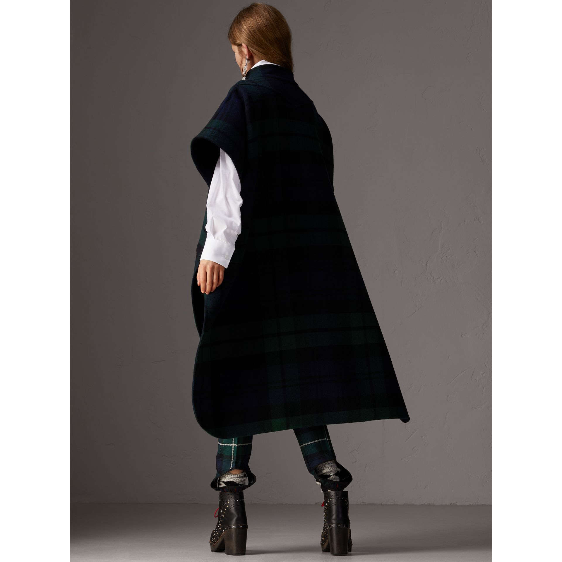 Reversible Tartan Wool Cashmere Poncho in Bright Navy - Women | Burberry - gallery image 2
