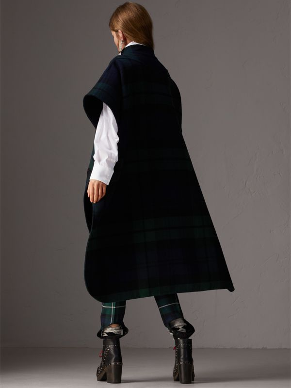 Reversible Tartan Wool Cashmere Poncho in Bright Navy - Women | Burberry - cell image 2