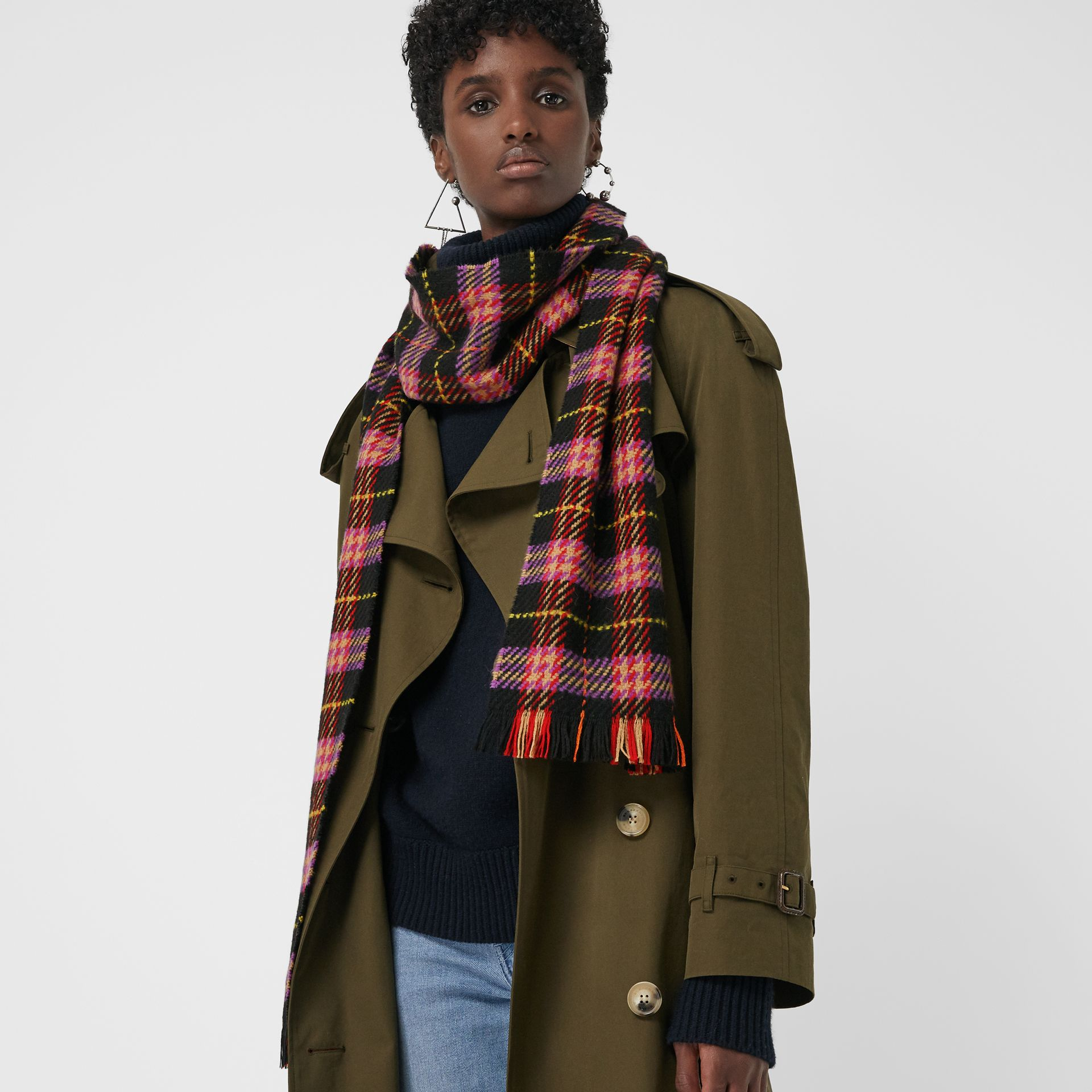 Check Merino Wool Scarf in Black | Burberry United Kingdom - gallery image 3