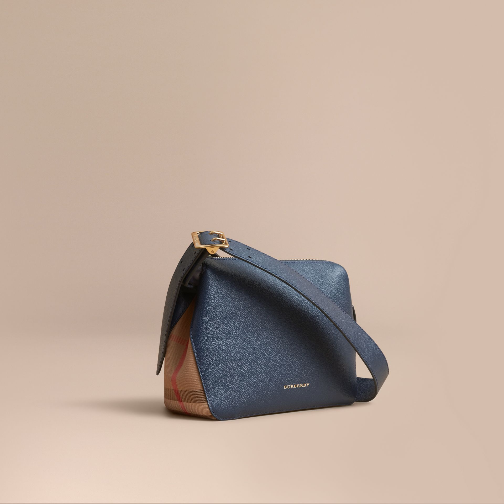 Buckle Detail Leather and House Check Crossbody Bag Blue Carbon - gallery image 1