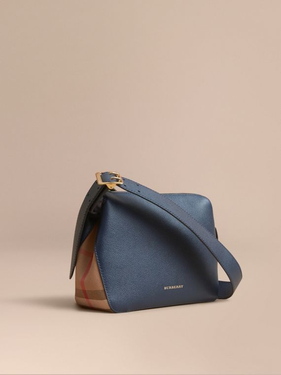 Buckle Detail Leather and House Check Crossbody Bag Blue Carbon