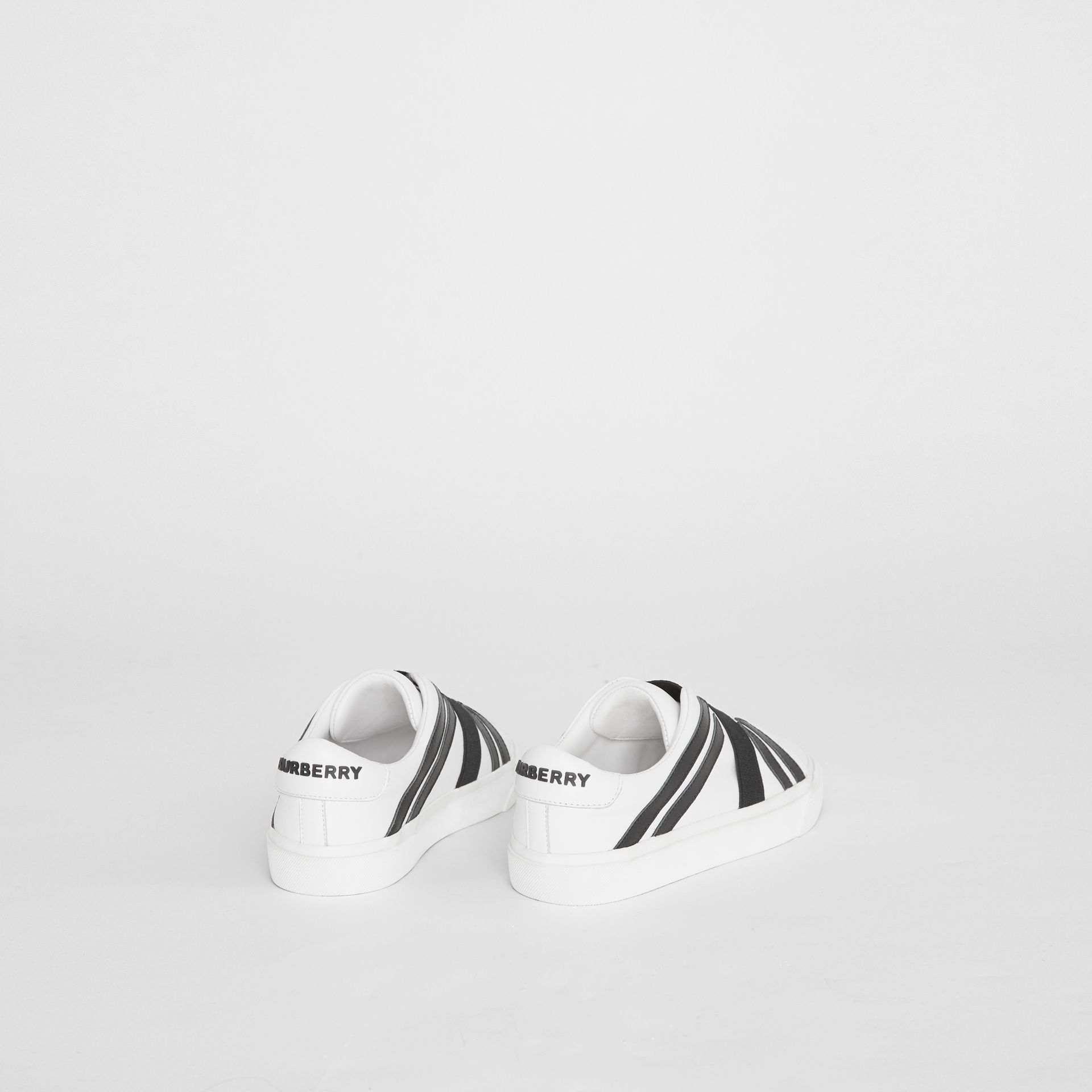 Union Jack Motif Slip-on Sneakers in Optic White/black - Children | Burberry Australia - gallery image 2