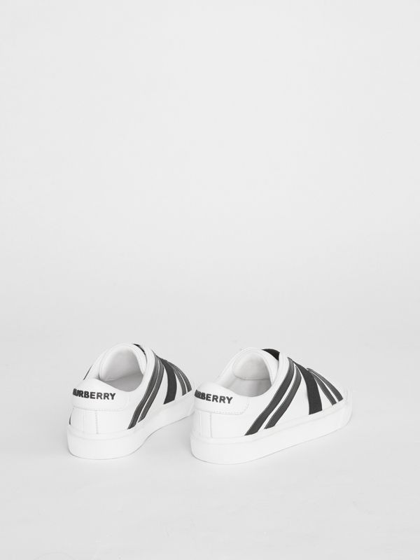 Union Jack Motif Slip-on Sneakers in Optic White/black - Children | Burberry Australia - cell image 2