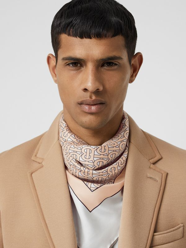 Monogram Print Silk Square Scarf in Pale Camel | Burberry Canada - cell image 3