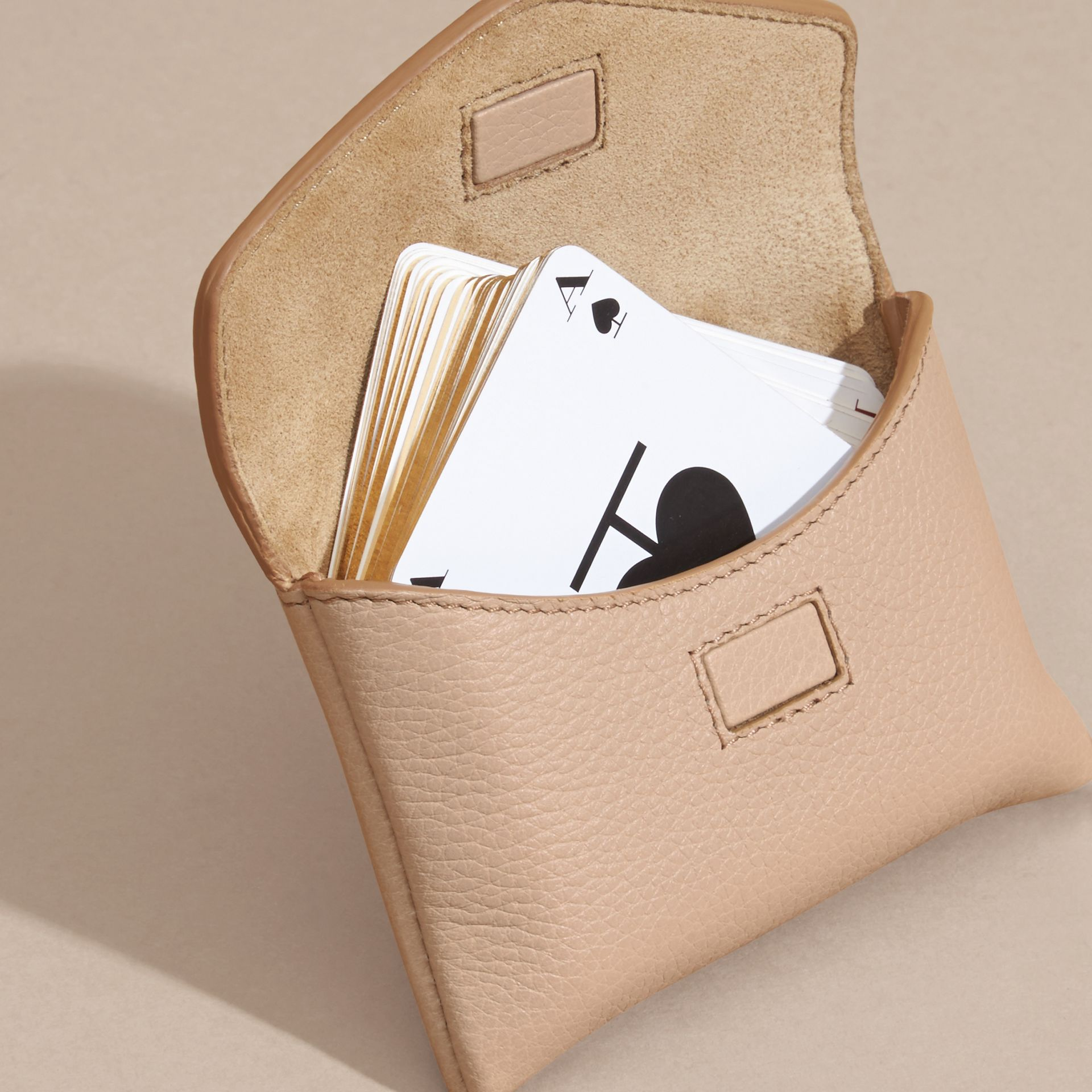 Pale apricot Grainy Leather Playing Card Case Pale Apricot - gallery image 3