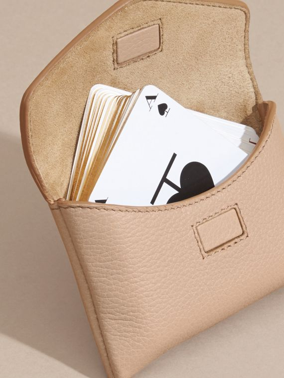 Pale apricot Grainy Leather Playing Card Case Pale Apricot - cell image 2
