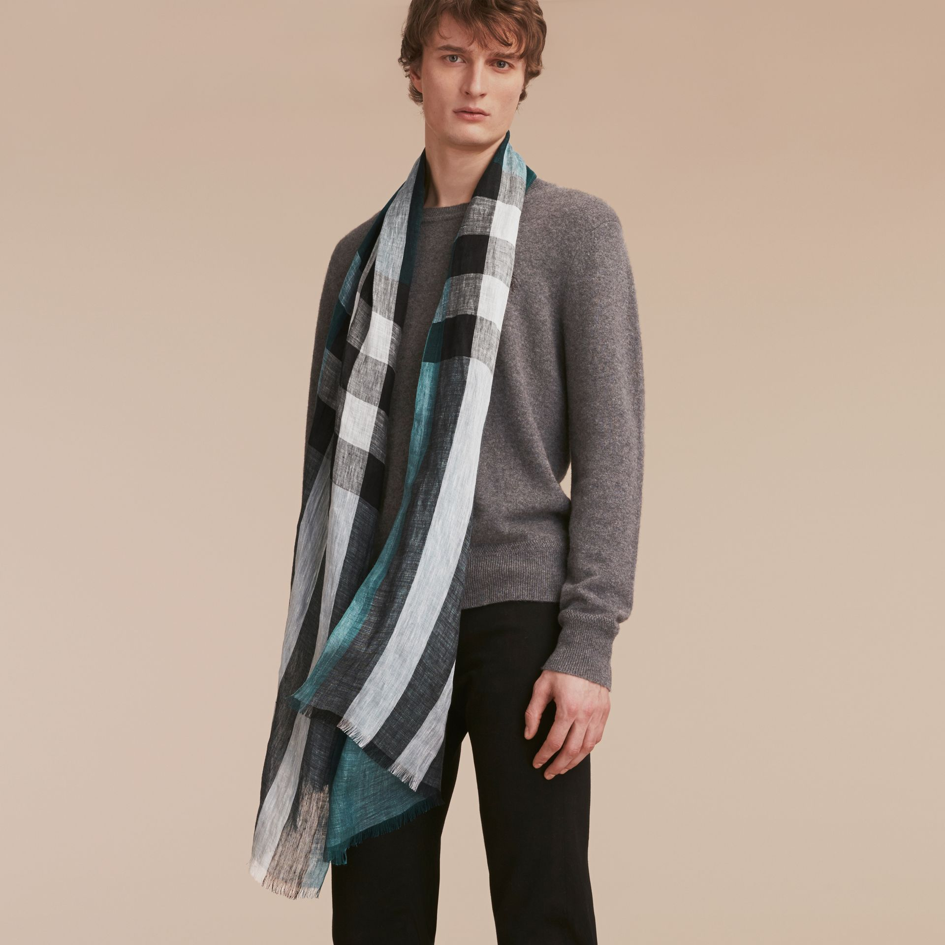 Lightweight Check Linen Scarf in Dark Teal | Burberry - gallery image 3