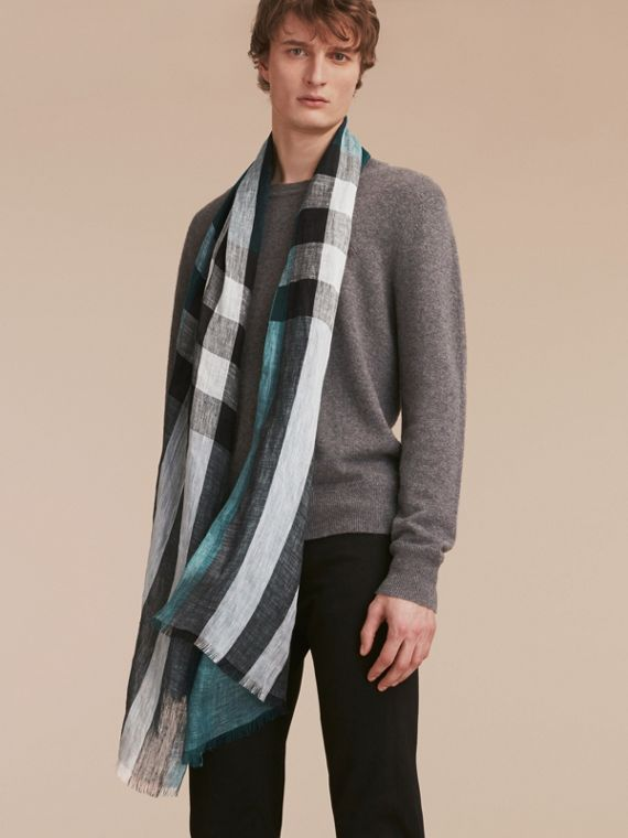 Lightweight Check Linen Scarf in Dark Teal | Burberry - cell image 2