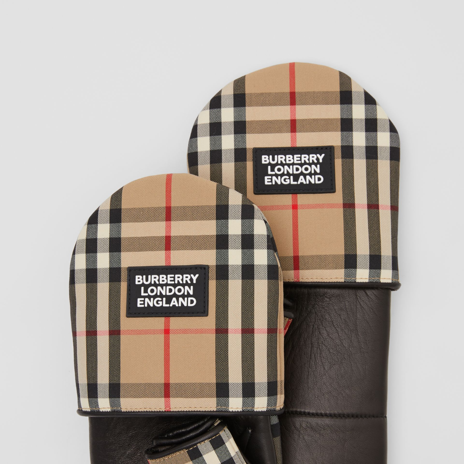 Logo Appliqué Lambskin and Vintage Check Mittens in Archive Beige | Burberry United Kingdom - gallery image 1
