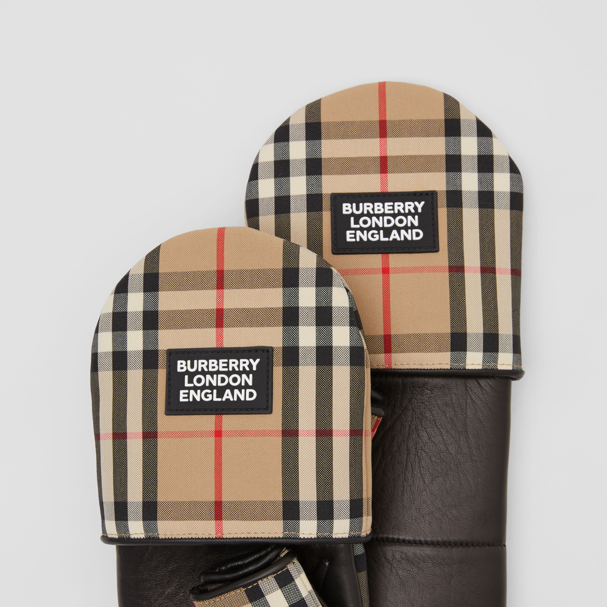 Logo Appliqué Lambskin and Vintage Check Mittens in Archive Beige | Burberry - 2