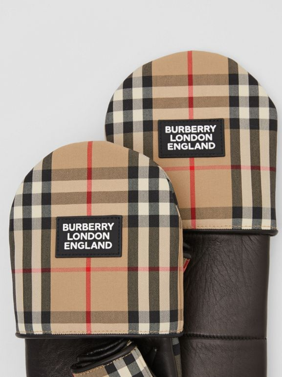 Logo Appliqué Lambskin and Vintage Check Mittens in Archive Beige | Burberry Hong Kong S.A.R - cell image 1