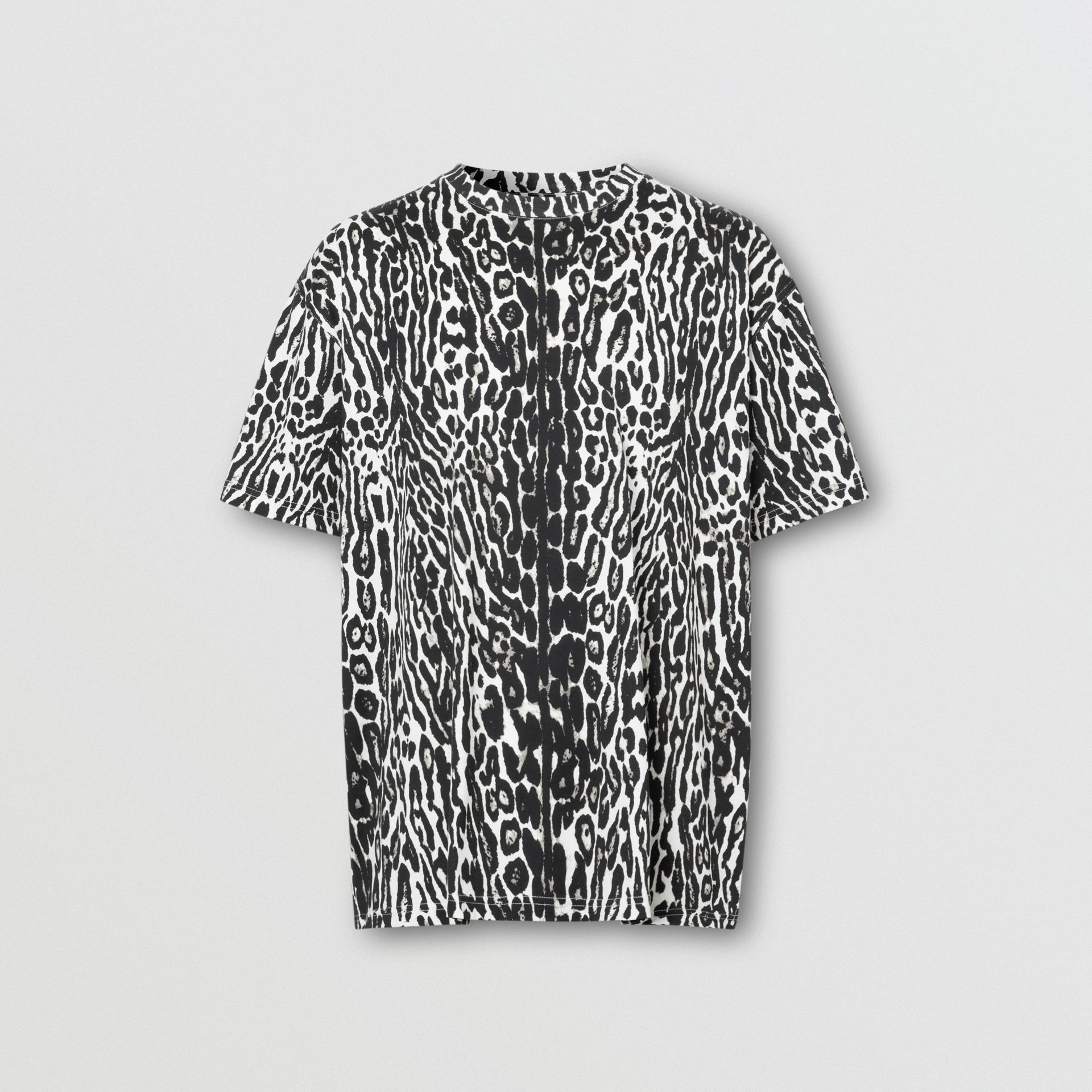 Leopard Print Cotton Oversized T-shirt in Black - Men | Burberry - gallery image 3