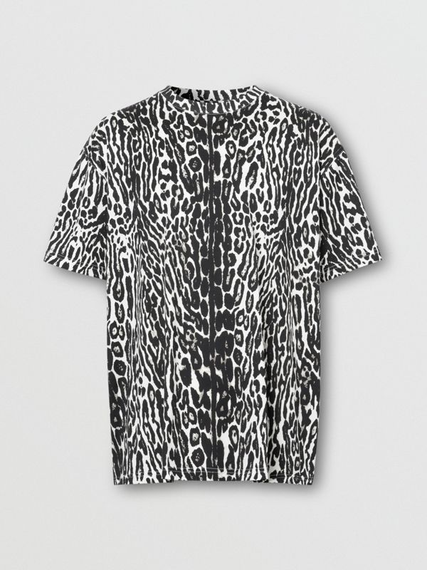Leopard Print Cotton Oversized T-shirt in Black - Men | Burberry - cell image 3