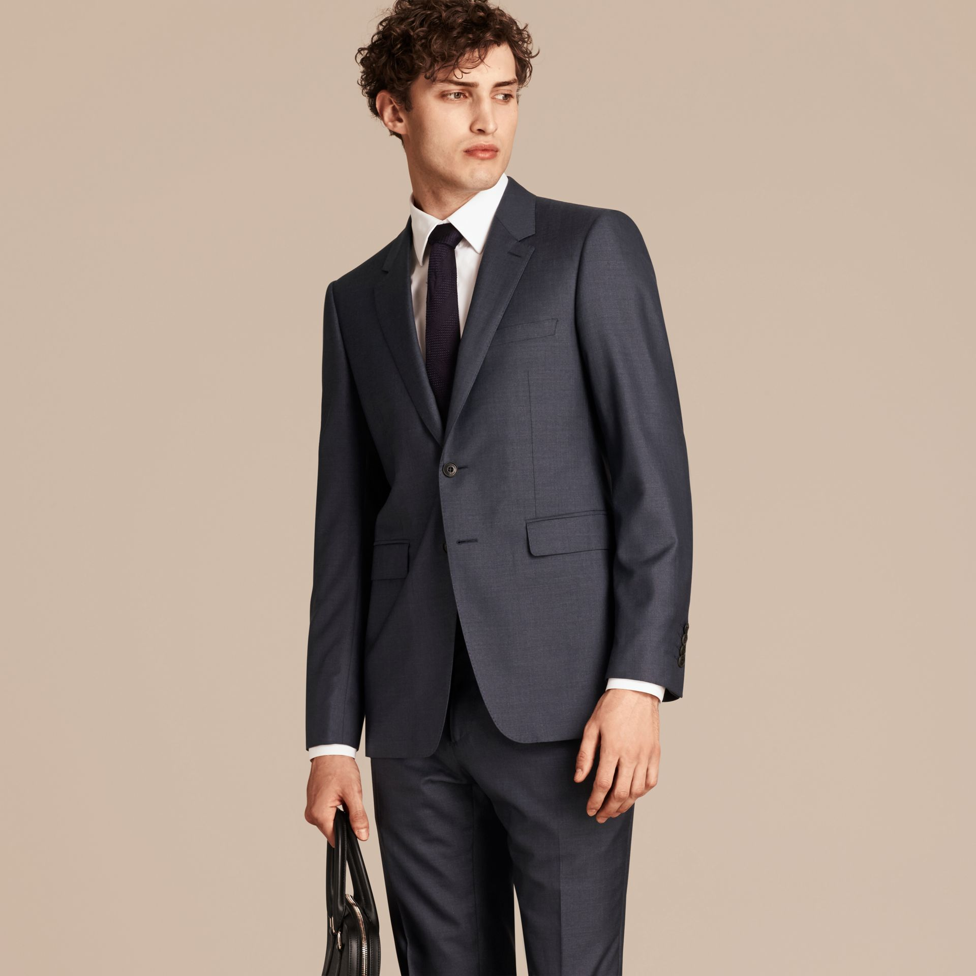 Dark pewter blue Modern Fit Wool Silk Half-canvas Suit - gallery image 8