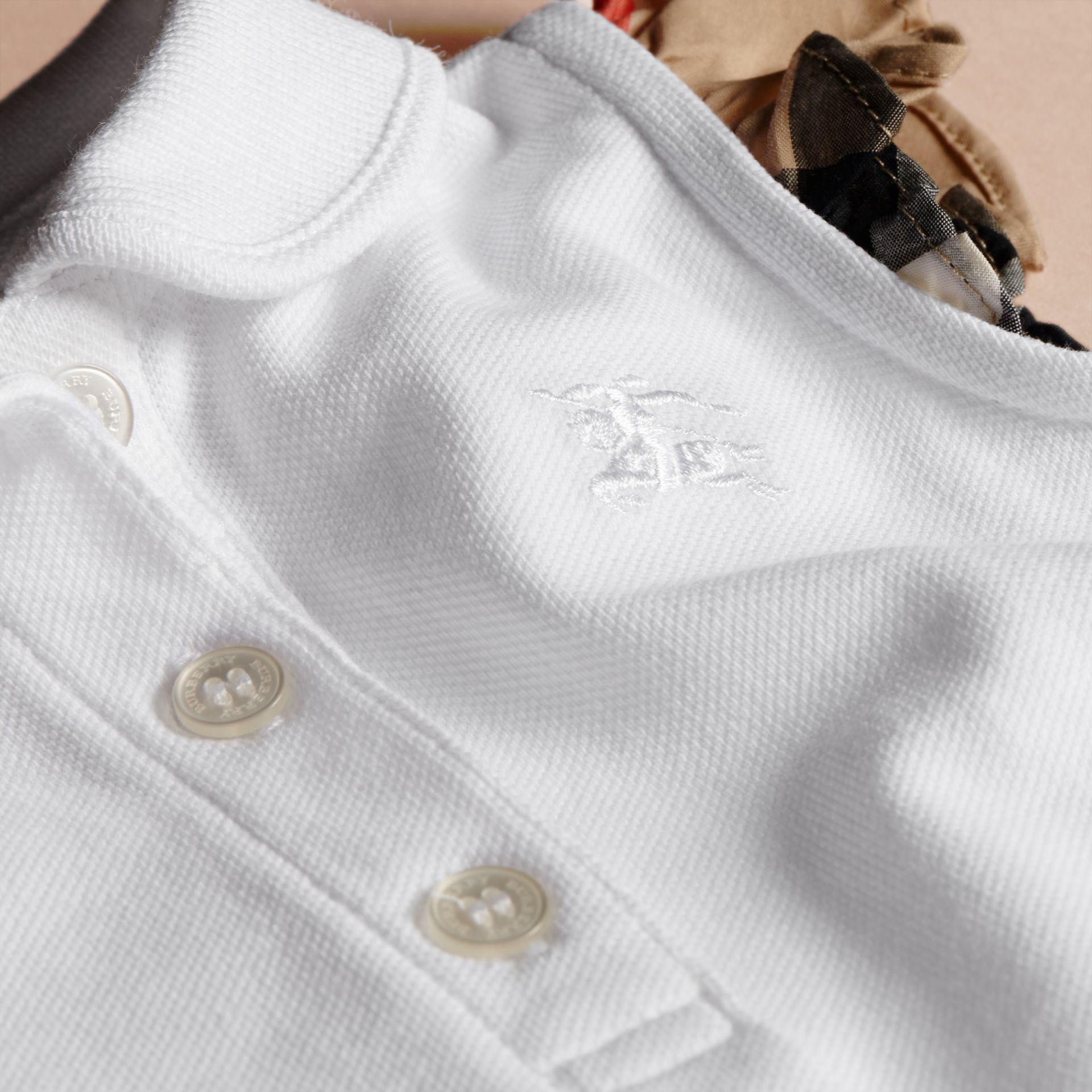 Flutter-sleeve Cotton Piqué Polo Shirt in White | Burberry Australia - gallery image 2