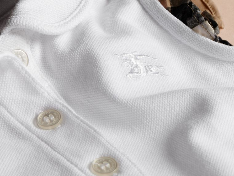 Flutter-sleeve Cotton Piqué Polo Shirt White - cell image 1