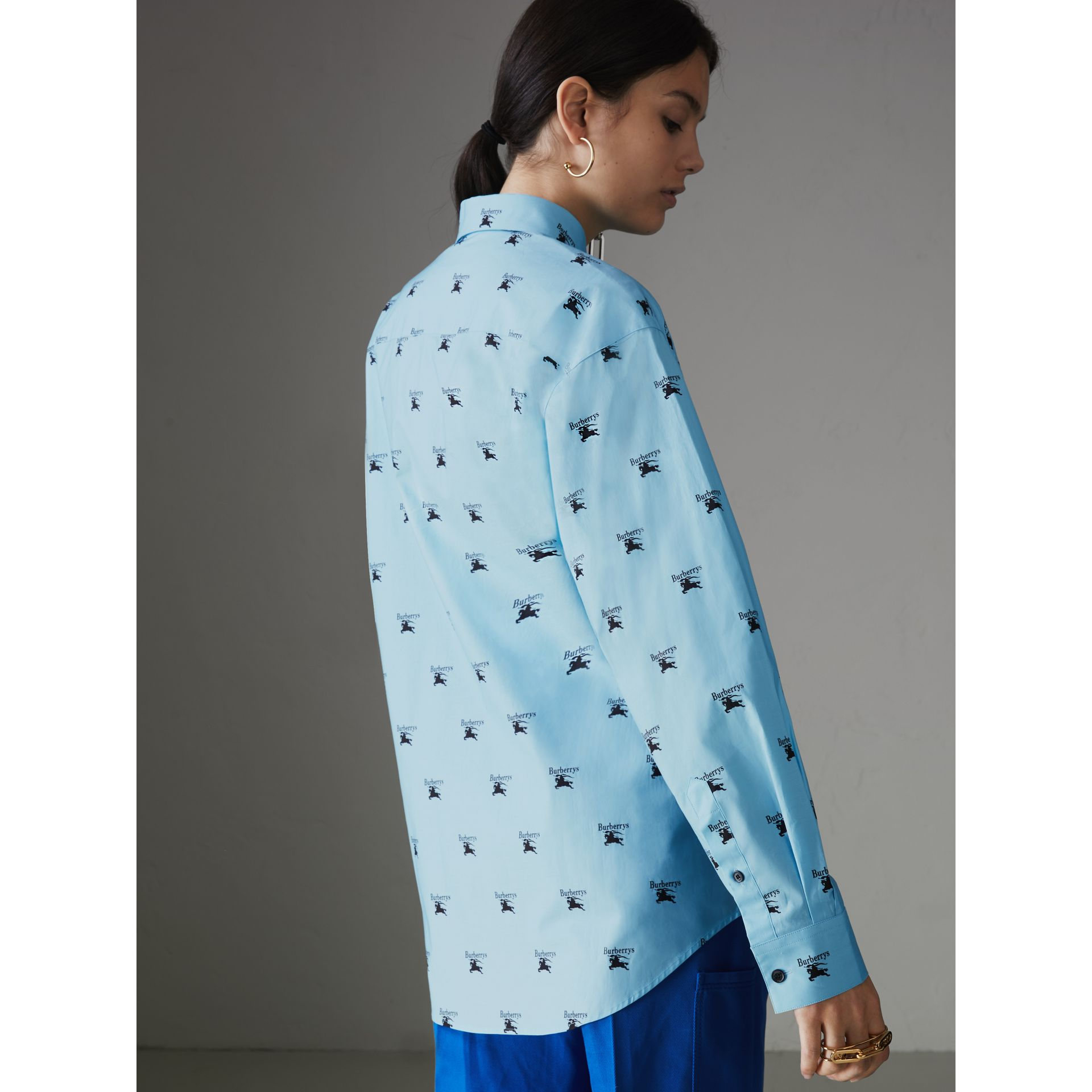Logo Print Stretch Cotton Shirt in Sky Blue - Women | Burberry Singapore - gallery image 2