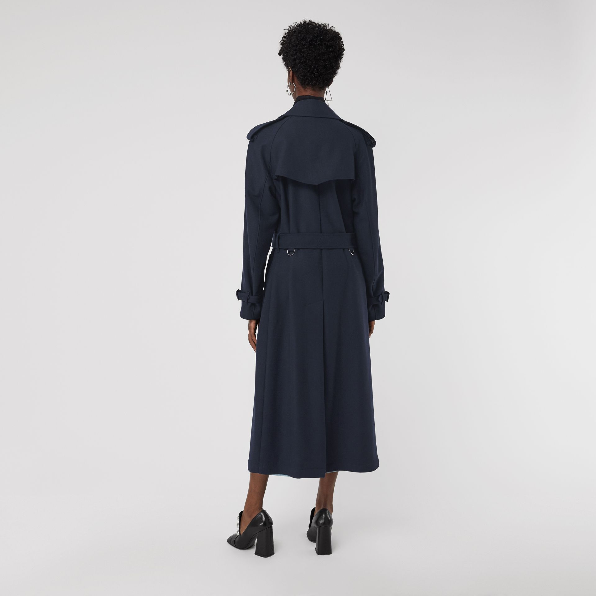 Herringbone Wool Blend Trench Coat in Navy - Women | Burberry - gallery image 2