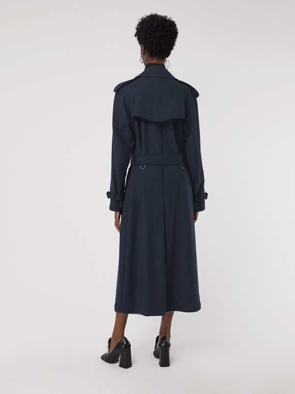 Herringbone Wool Blend Trench Coat in Navy - Women | Burberry - cell image 2