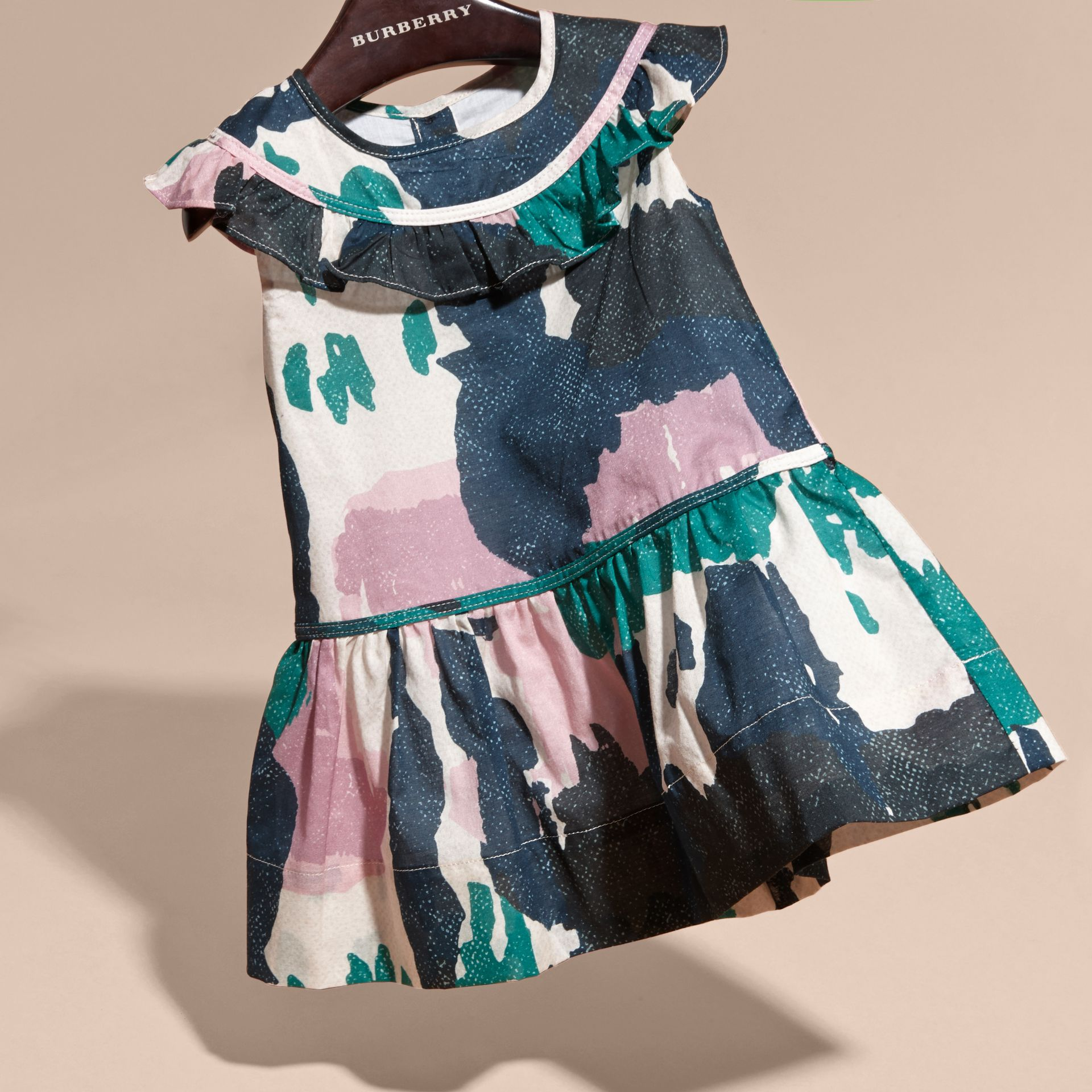 Teal green Painterly Print Ruffle Trim Cotton Dress - gallery image 3