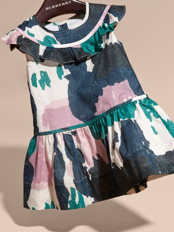 Painterly Print Ruffle Trim Cotton Dress - cell image 2